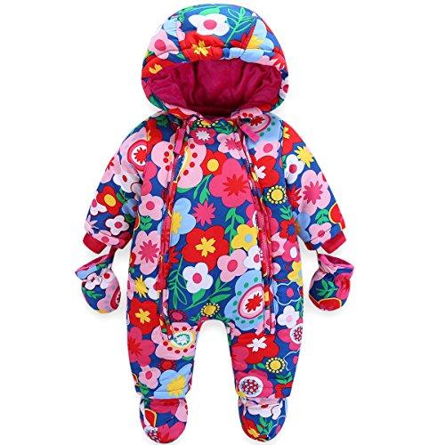 JiAmy Bambino Tute da Neve con Guanti e Scarpe Ragazze Inverno Pagliaccetto con Cappuccio Caldo Set di Abbigliamento 12-18 Mesi