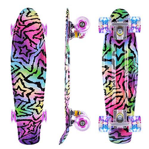 Caroma Skateboard per Principianti, Skateboard Mini Cruiser Completo da 22 Pollici con Ruote Illuminate a LED per Bambini Adolescenti Ragazze Ragazzi (Viola)