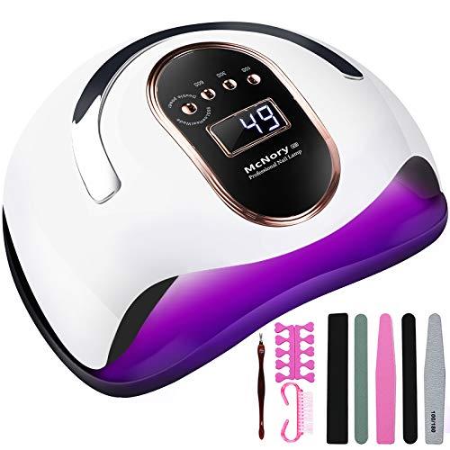 McNory Lampada Unghie UV LED,168W Professionale Fornetto per Manicure/Pedicure Permanente Smalto Semipermanente 4 Timer con 10s/30s/60s/99s Display LED Automatico Sensore