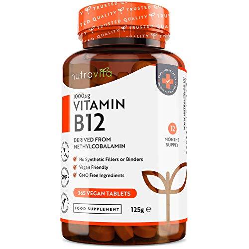 Vitamina B12 1000 mcg - Metilcobalamina B12 Vegana ad Alto Dosaggio - 365 Compresse (1 Anno di Fornitura) - Vitamina B12 Vegan per Sistema Immunitario, Concentrazione, Energia - Prodotto da Nutravita
