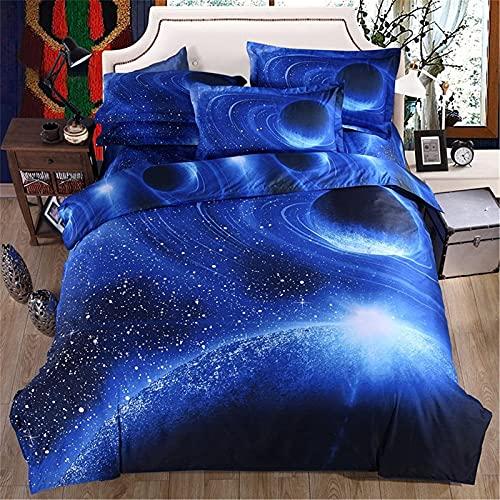 Set di biancheria da letto con 2 federe, motivo cielo stellato, con chiusura a cerniera, in morbida microfibra, per letto matrimoniale, 200 x 200 cm, colore: blu