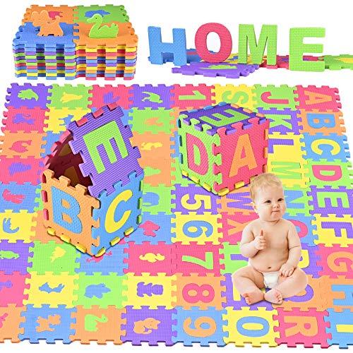 GOLDGE 72pcs Tappeto Puzzle, 15 x 15cm Soffice Schiuma Morbido Eva Tappetone, Incastro Tappeto Gioco Pavimento Mattonella, Bambini Imbottito Tappeti con Lettere, Numeri, Animali