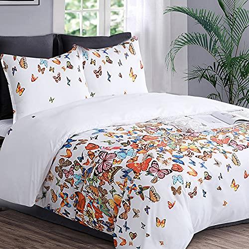 YEPINS Biancheria da letto, 155 x 220 cm, 2 pezzi, 100% microfibra, 1 copripiumino da 155 x 220 cm, con chiusura lampo nascosta, 1 federa da 80 x 80 cm, motivo farfalla multicolore