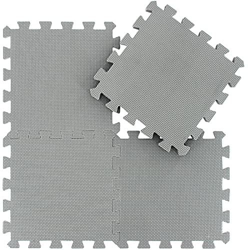 qqpp Tappeto Bambini Puzzle con Certificato CE in Morbido Gomma Eva   Tappeti da Gioco per Bambina   Tatami. 18 Pezzi (30 * 30 * 1cm), Grigio. QQC-Lb18N