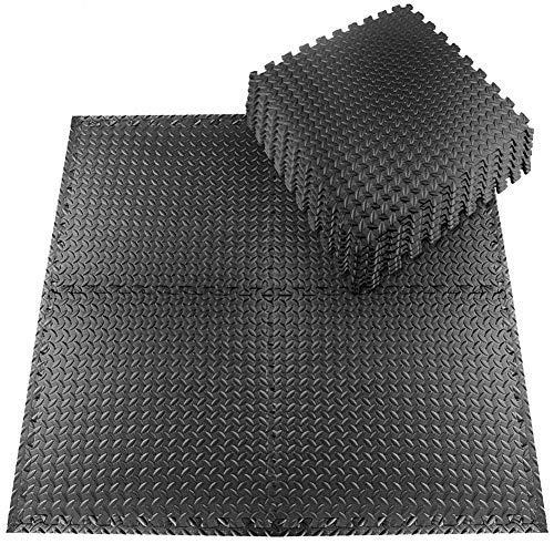 StillCool Tappeto da Fitness a Puzzle – Set di 20 Pezzi 30 * 30 cm   Superficie di Protezione per Pavimenti   materassino per Palestra, Workout, Ginnastica   Tappetino Facile da Pulire (Nero-1)