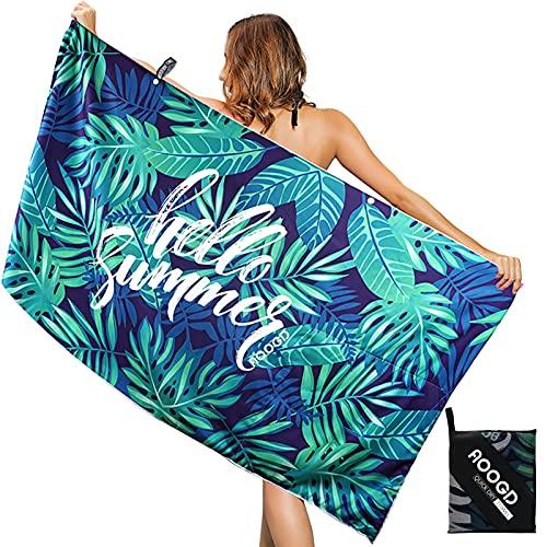 AOOGD Asciugamano da Spiaggia Telo Mare in Microfibra, Asciugamano Fitness ad Asciugatura Rapida 160 * 80 cm,Asciugamano da Viaggio Leggero e Portatile