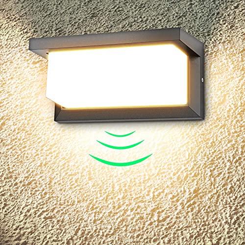 LEDMO Applique da Parete 18W con Sensore di Movimento Applique Esterno Bianco Caldo 3000K Lampada da Parete 1260lm IP65 Impermeabile