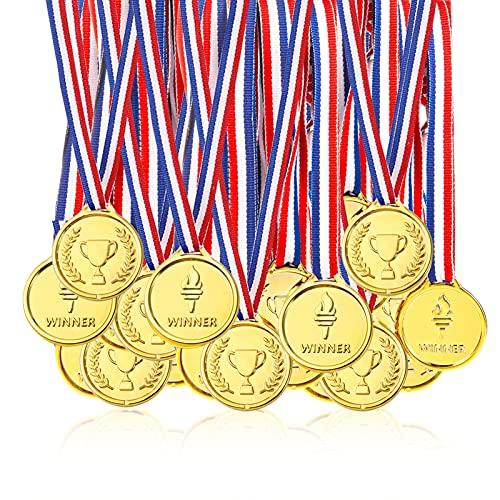 Pllieay 100 Pezzi Plastica Bambini Winner Medaglie, Oro Medaglie di Vincitore per Bambini Festa, Concorrenza, Ricompensa