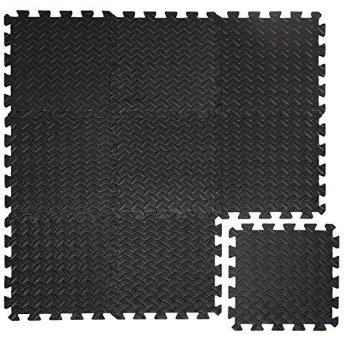 eyepower Tappetino Puzzle 10mm di Spessore in Schiuma Eva per Sport Composto da 9 tasselli ognuno 30x30cm Dimensione Totale 0,81qm Estensibile Nero