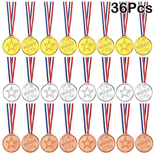 FEPITO 36 Pezzi Vincitore Medaglie Bambini Plastica Oro Medaglie d'Argento e Medaglie di Bronzo per Bambini Bomboniere Decorazioni e premi Sportivi