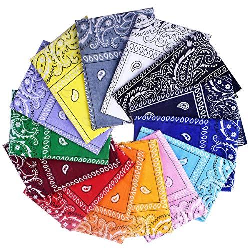 Awinker 14 Pezzi Bandane Cappelli Collo Testa Sciarpa Fazzoletti da Taschino Disegno Paisley Realizzati in 100% Cotone (14-pz)