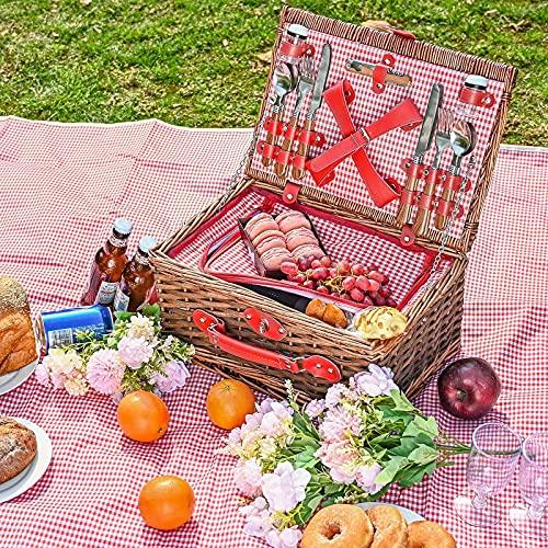 Kacsoo Set Cestino da Picnic 4 Persone Cestino da Picnic in Vimini Coperta Picnic Impermeabile Fatta Dotata di incubatrice e Posate Adatta per Picnic nei parchi sul Lago e Vacanze in Spiaggia