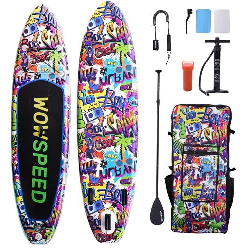 Stand Up Paddling Board gonfiabile 320 x 83 x 15 cm, 8,7 kg, set tavola da surf leggera, accessori completi per canoa, tavola da surf, pompa, borsa impermeabile (graffiti 2)